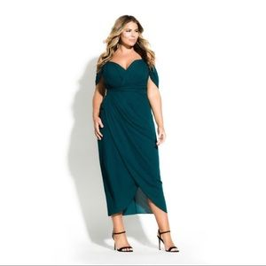 City Chic Entwine Maxi   Formal Gown   Emerald
